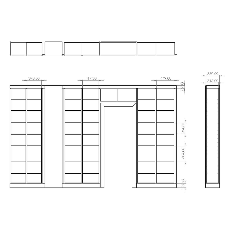 Tegning; Speciallavet på mål og indbygget reol omkring dør