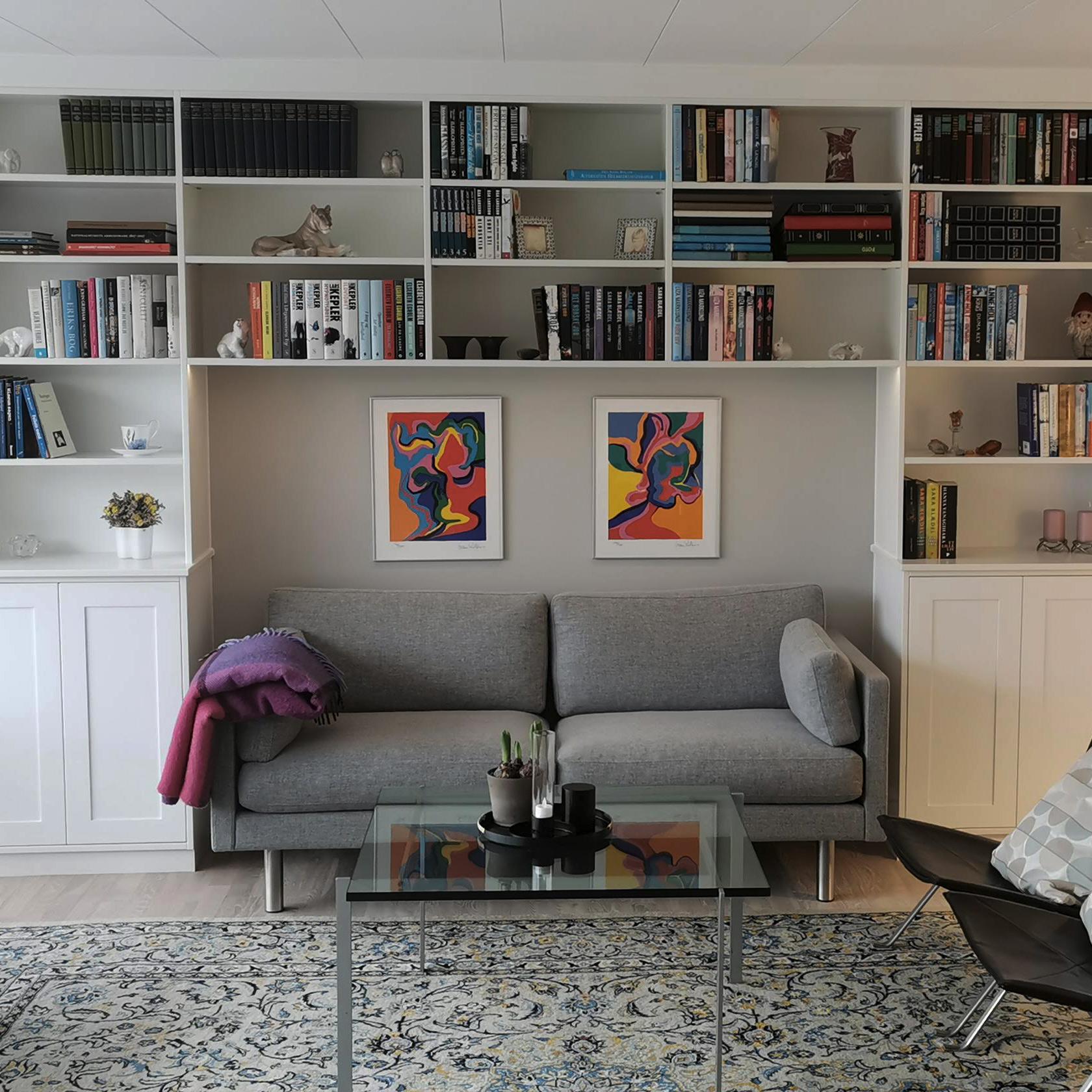 Indbygget reol omkring sofa med skabe forneden