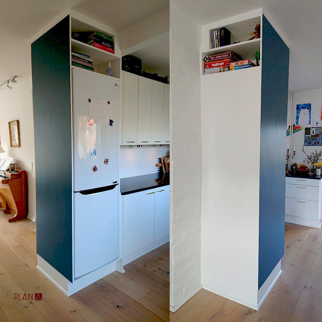 Speciallavet på mål og indbygget skab til køleskab med opbevaring